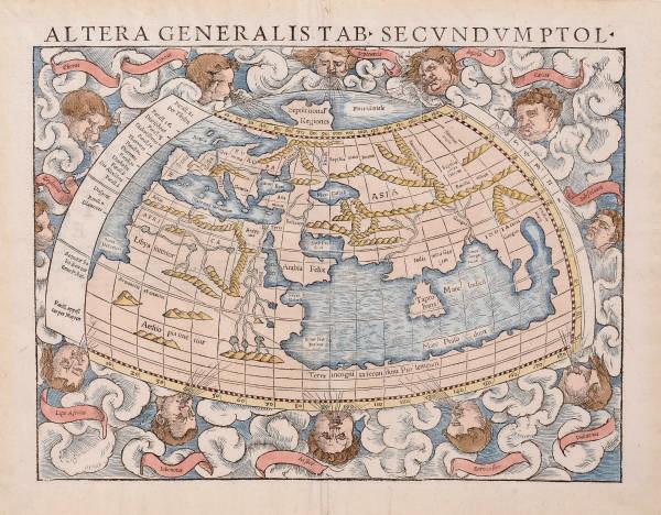 MÜNSTER, Sebastian.  Altera generalis tab. secundum Ptol. [2 terreni orbis generalis et Ptolemaica descriptio] [Basle: Henrich Petri, 1552]. Hand-coloured woodcut map, verso blank, 308 x 389mm. Nordenskiöld II, 155: [2].